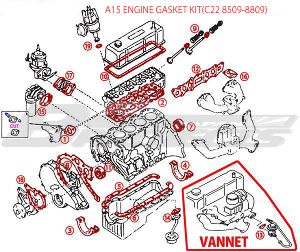 A15 Engine Repair Gasket Kit  - Specialized shop for Datsun 1200